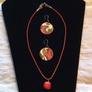 Jewelry - Handmade Clay Earrings & Coral Necklace - Unique!